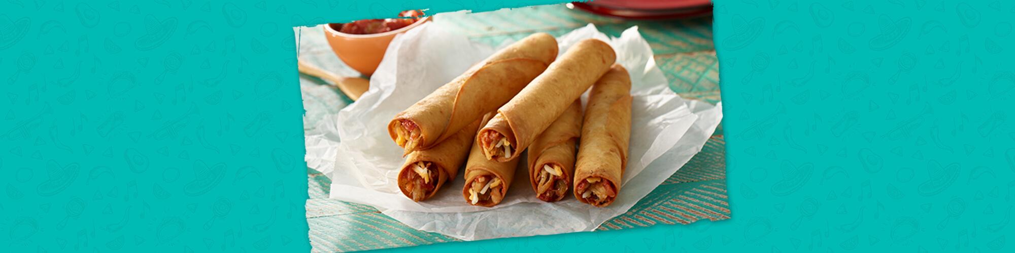 Salsas cheesy chicken flautas