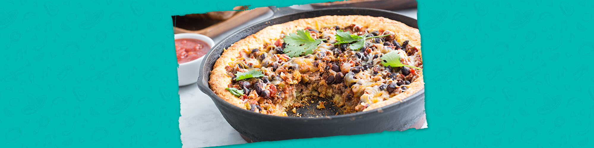 Salsas tamales pie with cheese crust