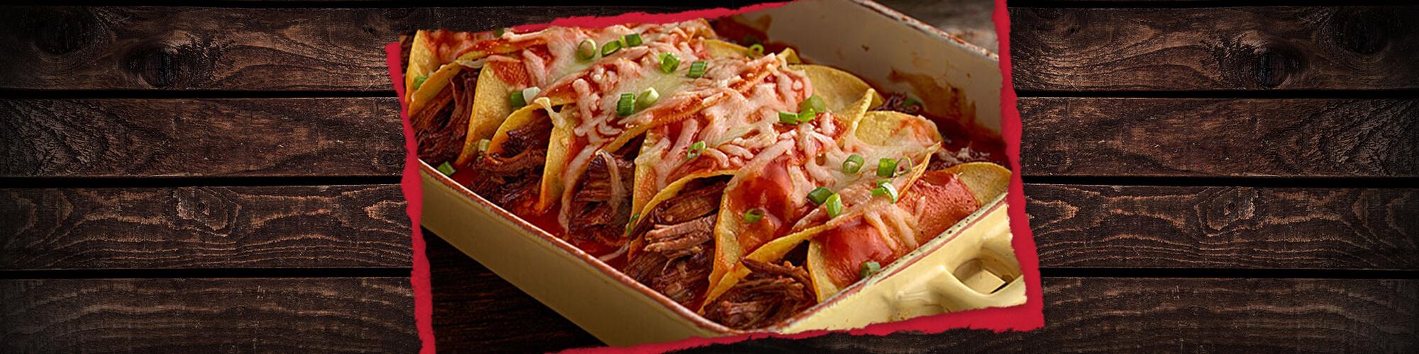 Salsas shredded beef enchiladas