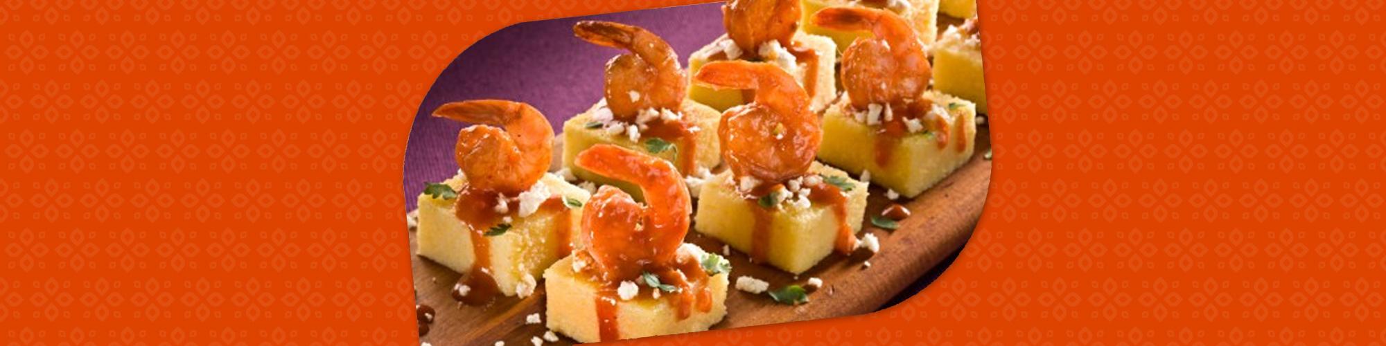Salsas shrimp enchilada bites on polenta squares