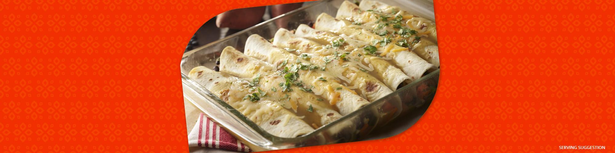 Salsas black bean and sweet potato enchiladas