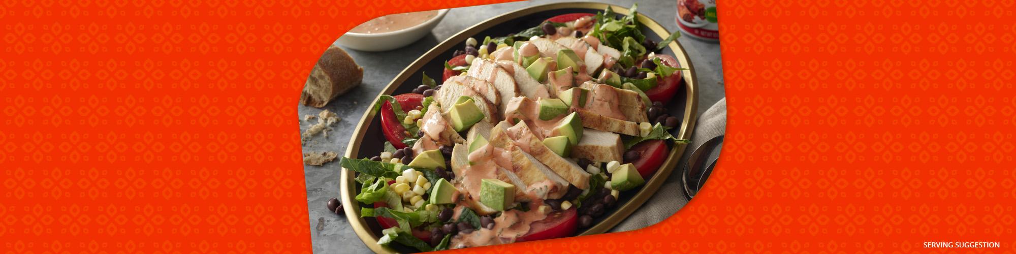 Salsas chicken salad with enchilada sauce dressing