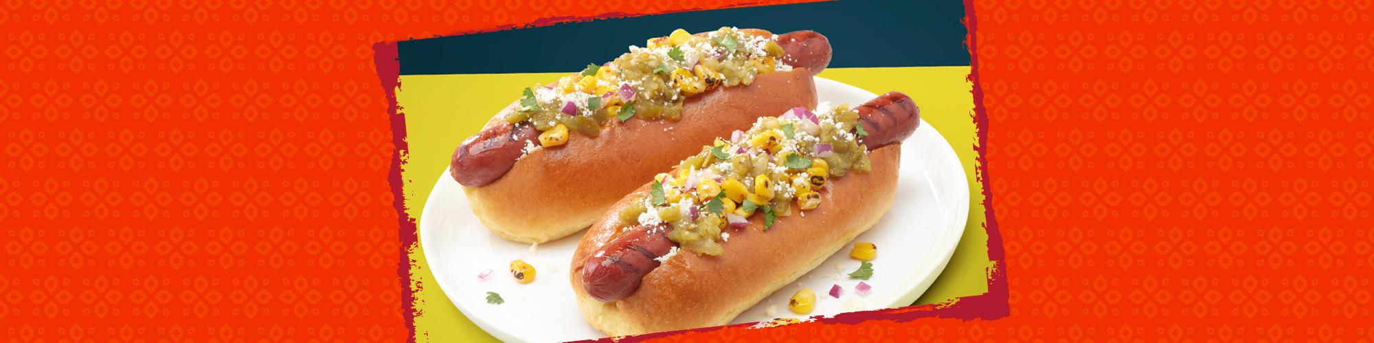 Salsas street corn verde hot dog