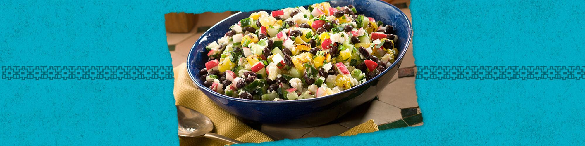 Salsas black bean grilled pineapple cucumber salad