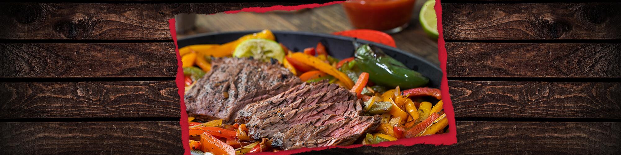 Salsas marinated skirt steak fajitas
