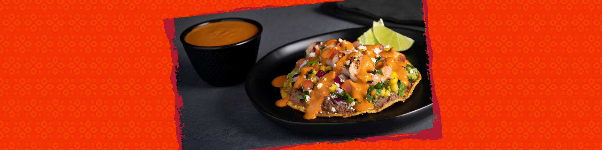 Salsas shrimp tostada